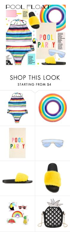 """Soak Up the Sun: Pool Party"" by beebeely-look ❤ liked on Polyvore featuring band.do, Givenchy, swimwear, rainbow, pride, poolparty and zaful"