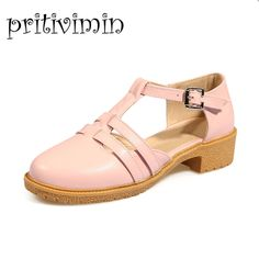 >> Click to Buy << Women lolita low heels girls sweet pump ladies cutout pink beige prom summer shoes cheap woman large size heels sandals 8-30 #Affiliate