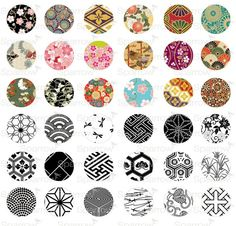 Traditional Japanese Patterns - (1x1) One inch Round pendant images - Printable Digital Collage Sheet - Buy 2 Get 1 Free