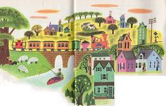 """The Train to Timbuctoo, Illustrations by Art Seiden, 1951- Countryside    """"The Train to Timbuctoo"""", Little Golden Book, 1951"""