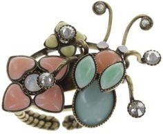 ring Bug Me Now pastel multi antique brass