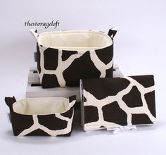 Love this pattern for baby! XL Diaper Caddy, Small Storage Basket, Changing Pad - Brown Giraffe Fabric