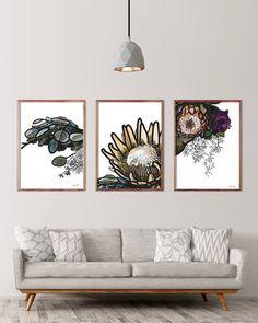 Protea art Botanical art Floral art Protea print Digital
