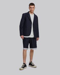 Blazers For Men Casual, Tactical Vest, Asymmetrical Design, Rocker Chic, Fashion Lookbook, Stylish Men, Cotton Shorts, Blazer Jacket, Trousers
