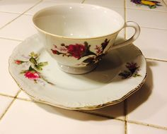 Rose Teacup and Saucer Tea Set Tea Party Table by MaidenLongIsland