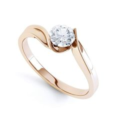 Unity solitaire engagement ring perspective view in rose gold - Tammy Moore - Free Elegant Engagement Rings, Rose Gold Engagement Ring, Engagement Ring Settings, Diamond Wedding Rings, Solitaire Engagement, Diamond Rings, Engagement Jewelry, Ring Verlobung, White Gold Rings