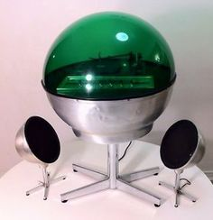 1960's space stereo | ... DOME Space Age Mod GREEN ORB Sphere STEREO Weltron Electrohome Era