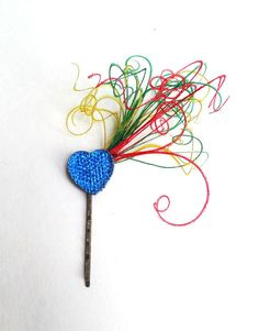 Blue Heart Feather Fascinator Bobby Pin Hair by BatcakesCouture, $9.99