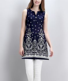 Another great find on #zulily! Navy Fleur-de-Lis Button-Front Sleeveless Tunic by Reborn Collection #zulilyfinds