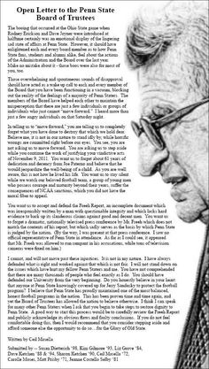 PENN STATE – PATERNO – Open Letter to Penn State Board of Trustees