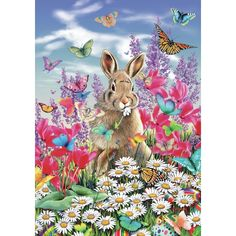 """""""Easter Bunny"""" - This brightly coloured image is sure to delight young and young-at-heart alike. Easter Puzzles, 300 Piece Puzzles, Daisy Patches, Wooden Jigsaw Puzzles, Rabbit Art, Bunny Rabbit, Cross Paintings, Vintage Easter, Colour Images"""