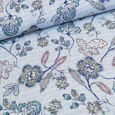 Leinen Viskose Stoff Bekleidung Hosen Kleider Blusen Creme mit Grauen Blumen