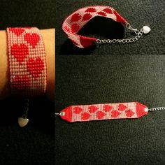 Handmade heart bracelet on a loom Heart Bracelet, Leather Working, Friendship Bracelets, Loom, Jewelry Making, Handmade, Hand Made, Jewellery Making, Make Jewelry