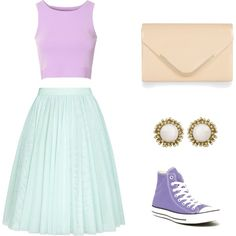 Pastelssss by bibkaro on Polyvore featuring polyvore fashion style Glamorous Ted Baker Converse Accessorize Kendra Scott
