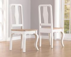 Chateau French Antique Ivory & Wood Pair Of Two Dining Chairs