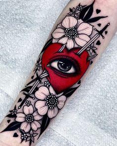 Get inspired by hand-picked traditional heart dagger tattoo designs. Skull Tattoos, Black Tattoos, Body Art Tattoos, Sleeve Tattoos, Cool Tattoos, Piercing Tattoo, B Tattoo, Tarot Tattoo, Tattoo Thigh