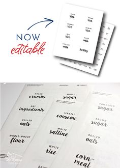 New To The Organization Toolbox Editable And Printable Pantry throughout Pantry Labels Template - Professional Templates Ideas Pantry Organization Labels, Pantry Labels, Pantry Ideas, Food Labels, Organization Ideas, Storage Ideas, Spice Jar Labels, Spice Jars, Free Label Templates