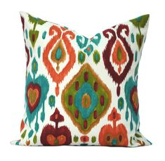 """1 ikat  indoor/outdoor pillow cover, 12"""", 14"""", 16"""" 18"""" 20"""", throw pillow, decorative pillow, Outdoor Pillow, Red Pillow, Green pillow by ThatDutchGirlHome on Etsy"""