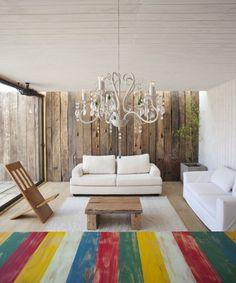 Wandgestaltung mit Holz-Altholz Effekt-Wohnzimmer Wand-M Haus