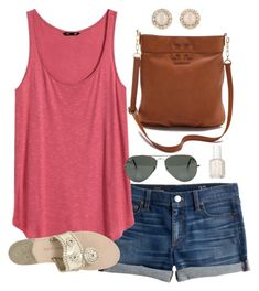 """""""great weather today"""" by classically-preppy ❤ liked on Polyvore featuring J.Crew, H&M, Tory Burch, Ray-Ban, Essie, Jack Rogers and Kate Spade"""