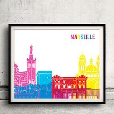 Marseille skyline pop INSTANT DOWNLOAD 8x10 par PaulPrintables