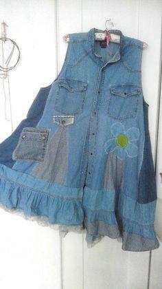Upcycled BrownBlueEmerald Peasant Style Bohemian Short Sleeve  Tunic Embellished with Hand-Stitching Women/'s Size Large