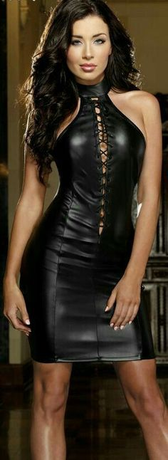 Cheap leather dress, Buy Quality club dress directly from China women club dresses Suppliers: Leather Dress Wholesale Price Hot Sale Fashion Black Women Club Dress High Quality Vinyl Mini Sexy Halter Dresses 6301 Fashion Casual, Look Fashion, Fashion Black, Ladies Fashion, Club Dresses, Sexy Dresses, Mini Dresses, Halter Dresses, Cheap Dresses