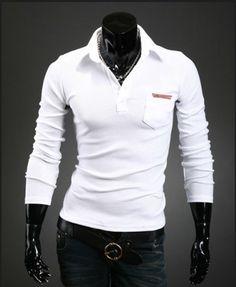 men lapel pockets leather label design shirt