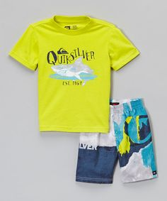 This Yellow Logo Rashguard & Blue Boardshorts - Infant & Toddler by Quiksilver is perfect! #zulilyfinds