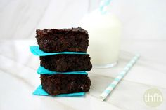 Vegan Flourless Zucchini Brownies...a clean eating recipe made with real food and are vegan, gluten-free, dairy-free, egg-free, paleo and have no refined sugars
