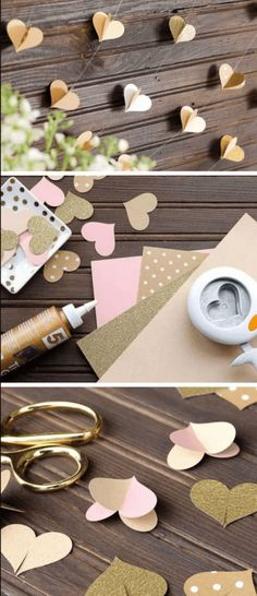 Diy paper heart garland 15 diy wedding ideas on a budget diy Diy Wax, Diy Décoration, Paper Heart Garland, Paper Garlands, Paper Decorations, Paper Backdrop, Birthday Decorations, Diy Valentine's Party Decorations, Heart Decorations