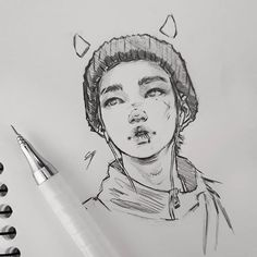 Ideas For Art Reference Character Design Girls Kpop Drawings, Pencil Art Drawings, Art Drawings Sketches, Sketches Of Boys, Tattoo Sketch Art, Realistic Drawings, Jimin Fanart, Taehyung Fanart, Arte Sketchbook