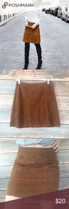 """Vintage Faux Suede Skirt Small This skirt fits me perfectly and I am usually a size 2-4 or 27 in women's and I am about 5'4"""" 120 lbs for reference. It is labeled size 9/10 but it is vintage so the sizing is a bit inaccurate for usual sizing. Zipper closure and slight A-line, this skirt is timeless and a classic with so much versatility!! My Michelle Skirts A-Line or Full"""