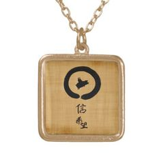 Flying Pig-Hope and Faith in Chinese Calligraphy Gold Plated Necklace - calligraphy gifts unique style cyo customize