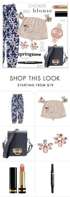 """""""Choker-tie-blouse"""" by mycherryblossom ❤ liked on Polyvore featuring Marchesa, Gucci, Bobbi Brown Cosmetics and Olivia Burton"""