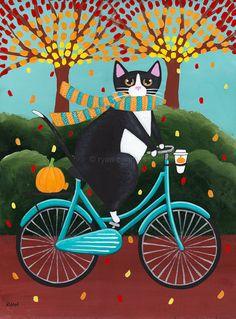 Autumn Tux Cat on a Bicycle  Original Folk Art by KilkennycatArt