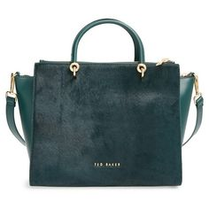Ted Baker London Large Genuine Calf Hair & Leather Tote (11 655 UAH) ❤ liked on Polyvore featuring bags, handbags, tote bags, dark green, genuine leather tote, pocket tote, zip top leather tote, genuine leather handbags and leather purse
