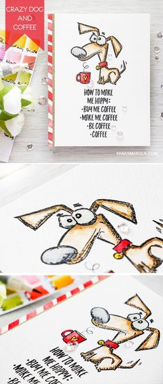 Tim Holtz Crazy Dogs and Simon's Choose Happy Coffee sentiment and coffee cup are perfect together! Crazy Dogs is a part of Simon's Masterpiece Box release. Grab yours today! For details, visit http://www.yanasmakula.com/?p=54466