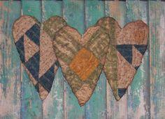 Primitive Heart Christmas Ornaments  Antique by PrairiePrimitives, $12.00