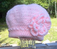 Princess Beret embellished with three layered flower and double band with picot edging