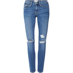 Frame Denim Le Skinny de Jeanne Jeans with Distressed Knees ($230) ❤ liked on Polyvore featuring jeans, pants, skinny leg jeans, blue jeans, ripped jeans, destructed skinny jeans and torn skinny jeans