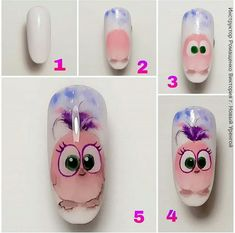 Owl Nail Art, Owl Nails, Minion Nails, Funky Nail Art, Animal Nail Art, Animal Nail Designs, Nail Art Designs, Hippie Nails, Acrylic Nails Coffin Pink