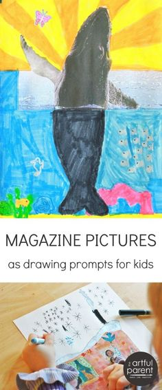 Magazine Pictures as Drawing Prompts for Kids - love this idea! Clip different pictures, cut them and let kids finish the drawing!