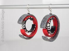 Round+earrings+Dangle+abstract+earrings+Black+and+by+ElviraKrick