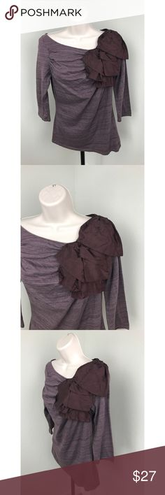 "DELETTA Anthropologie Volante Purple Bow Blouse Deletta for Anthropologie blouse Size small ""Volante Top""  Asymmetrical neckline with ribbon bow detailing  3/4 sleeves PERFECT for fall! GREAT condition!  length - approx 24 inches armpit to armpit - approx 16 inches Anthropologie Tops Blouses"
