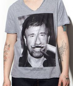 Chuck Norris in Moustache tees from Eleven Paris  Source: fancy-tshirts.com