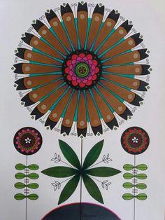 Flowers in ink and colour pencils. Blommor tecknade i tusch och färoennor. Veronica, Magenta, A4, Print Patterns, Folk Art, Pattern Design, Graphic Design, Colour, Studio