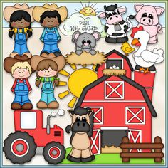 This Life On The Farm Clip Art and Black and White set comes with 13 Color Images and 11 Black and White Images.  All images are high quality 300 dpi for beautiful printing results.CLIP ART & Black and White Images (with a white fill as shown in the preview)Formats: transparent PNG and non-transparent JPGIncludes:  1 farmer boy (2 versions), 1 farm girl (2 versions), 1 scene with a barn in the grass with the sun, 1 tractor, 1 horse, 1 cow, 1 pig, 1 chicken, 1 chick, 1 mouse in the hay, 1 ...