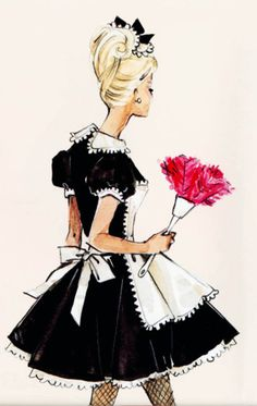 "vintagegal: ""French Maid"" barbie silkstone design sketch by Robert best"
