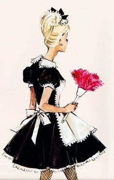 "vintagegal:  ""French Maid"" barbie silkstone design sketch by Robert best"